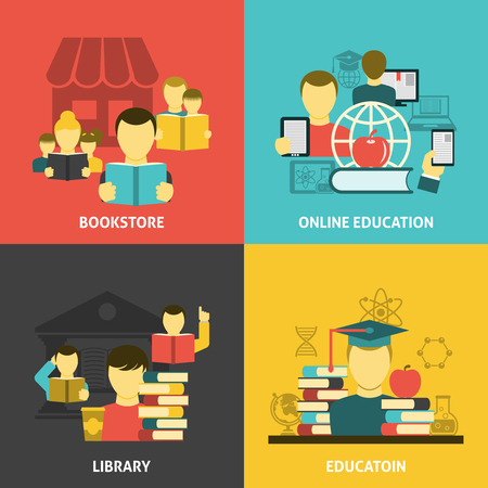 colleges: Traditional and online scientific education reading concept 4 flat icons square composition banner abstract isolated vector illustration