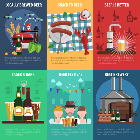 mini bar: Beer festival mini poster set with food and drink symbols isolated vector illustration