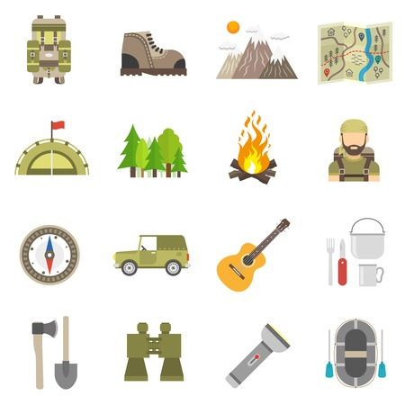 Tourism and summer hiking icons flat set isolated vector illustration