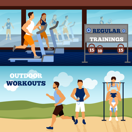 gimnasio: Trainer horizontal banner set with gym and outdoor workout isolated vector illustration Vectores