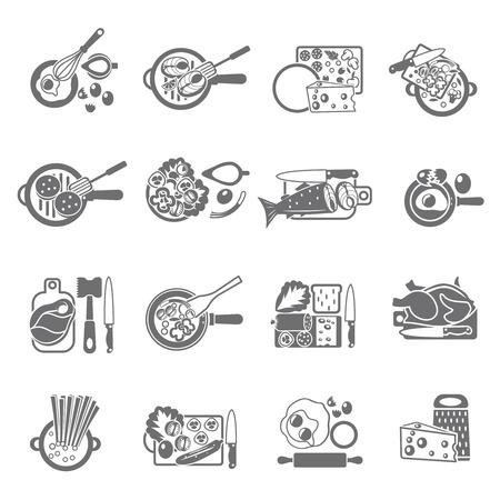 piatto: Icone casa concetto di cottura sana Flat con verdure carne e pesce astratta illustrazione vettoriale isolato