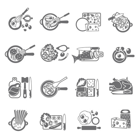 Healthy home cooking concept flat icons set with vegetables meat and fish dishes abstract isolated vector illustration