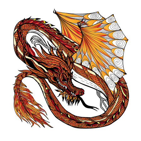 chinese new year dragon: Traditional asian dragon isolated on white background hand drawn colored vector illustration Illustration