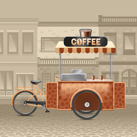 town houses: Coffee street cart with houses tent and road in town realistic vector illustration
