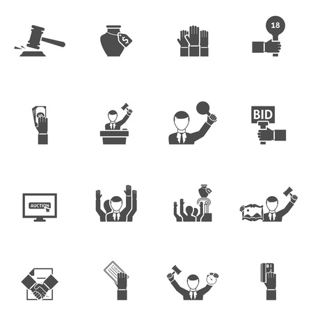 auction: Auction black white icons set with bids internet vase and painting flat isolated vector illustration