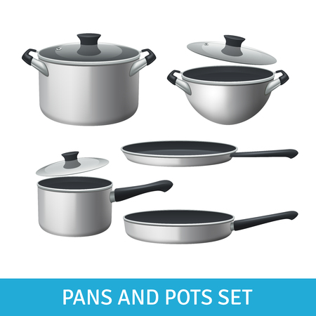 pots: Pans and pots realistic set with frying pan saucepan and bowl isolated vector illustration