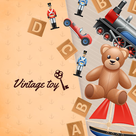 materials: Vintage toys realistic background with toy soldier car and teddy bear vector illustration