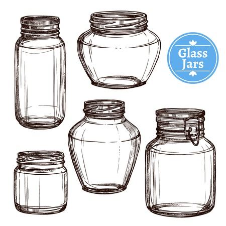 Hand drawn old style glass jars set isolated vector illustration Ilustracja