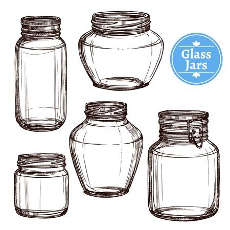 Hand getrokken oude stijl glazen potten geplaatst geïsoleerd vector illustratie