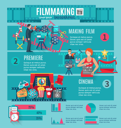 Filmmaking and cinema infographic set with premiere tickets and popcorn flat vector illustration