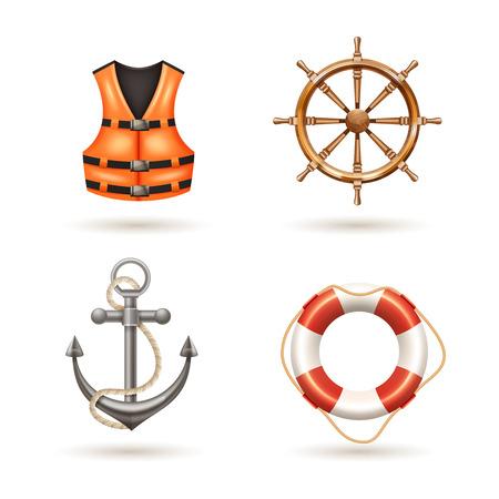 ancla: Iconos realistas marinas establecidas con la vida de anclaje chaleco salvavidas boya y tim�n aislado ilustraci�n vectorial