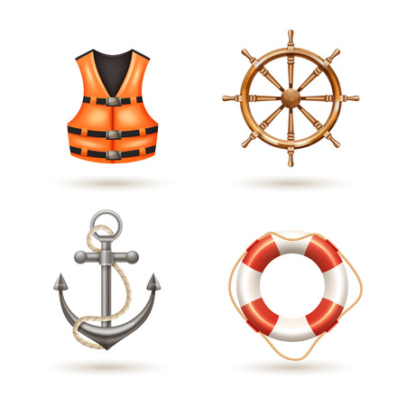 vest: Marine realistic icons set with anchor life buoy life jacket and helm isolated vector illustration