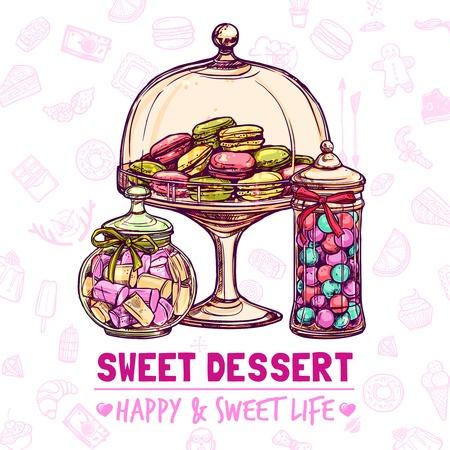 Affiche de magasin de bonbons avec bonbons cookies et macarons vecteur croquis illustration Banque d'images - 45346430