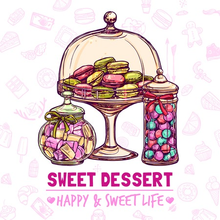 Candy shop poster with sweets cookies and macarons sketch vector illustration