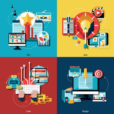 웹 코드 디자인과 SEO 평면 격리 된 벡터 일러스트 레이 션 설정 크리 에이 티브 프로젝트와 아이디어 아이콘 일러스트