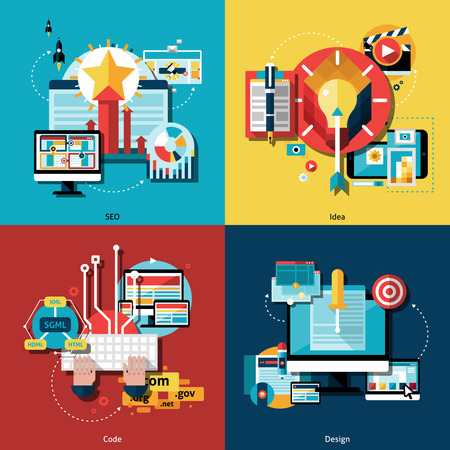 copywriting: Creative project and ideas icons set with web codes design and SEO flat isolated vector illustration
