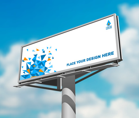 billboards: Place your design here prominent high billboard advertisement poster against blue clouded daytime sky abstract vector illustration Illustration