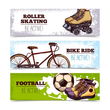 summer sport: Summer sport horizontal banners set with hand drawn bicycle and football ball isolated vector illustration