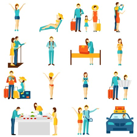 International vacation travelling flat icons set with taxi sightseeing and selfie making tourists abstract isolated vector illustration