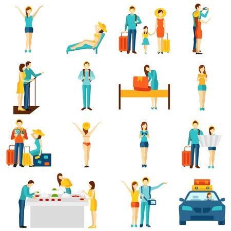 Vacaciones Internacional viajando iconos planos establece con visitas turísticas taxi y selfie haciendo turistas abstracto aislado ilustración vectorial Foto de archivo - 45346583