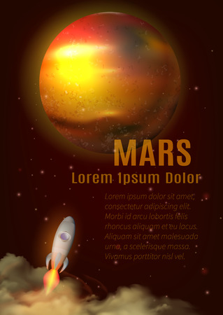 astronautics: Mars planet poster with title text space and spaceship cartoon vector illustration