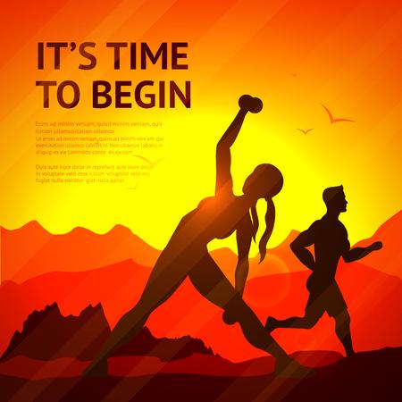 Leute, Joggen und Kraftsport-Training auf Sonnenuntergang Hintergrund Vektor-Illustration Standard-Bild - 45346590