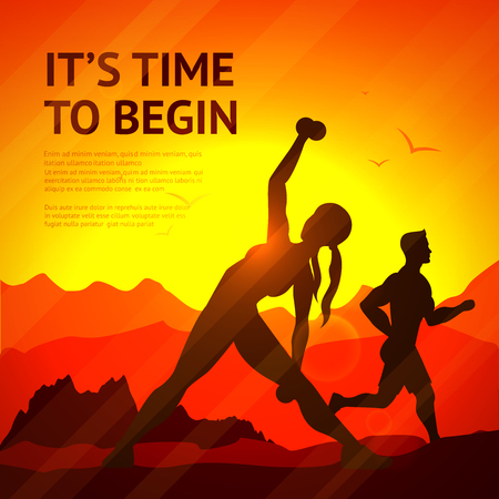 People doing jogging and weight lifting sport workout on sunset background vector illustration Ilustração