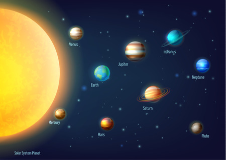 system: Solar system background with sun planets and outer space cartoon vector illustration
