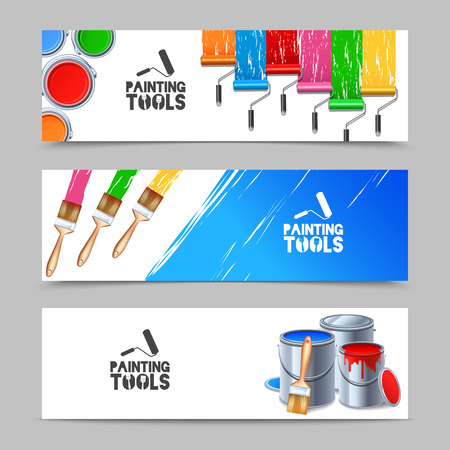 painting and decorating: Painting tools realistic horizontal banners set with brush and paint roller isolated vector illustration Illustration
