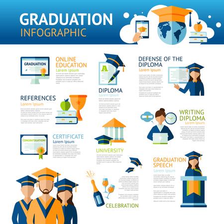 university students: Graduation infographics set with students and education symbols vector illustration Illustration