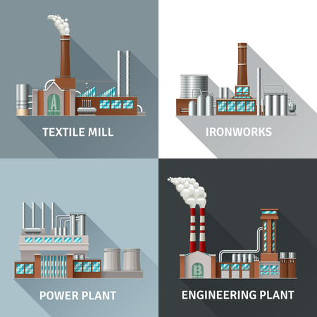 Factory building design realistic icons set with textile mill ironworks engineering and power plant shadow isolated vector illustration Illustration
