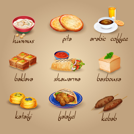 comida arabe: Árabes iconos de dibujos animados de alimentos establecidos con baklava shawarma y café aislado ilustración vectorial Vectores