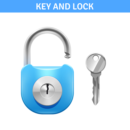 wicket door: Metal lock and key for safety realistic design isolated vector illustration