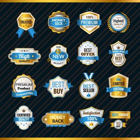 Luxe premium shopping labels goud en blauw set geïsoleerd vector illustratie