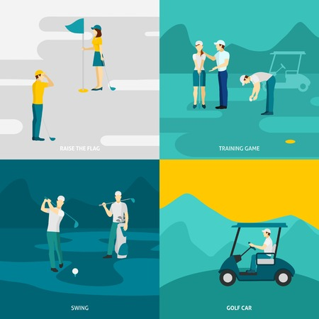cart: Golf design concept set with traning game and sport accessories flat icons isolated vector illustration