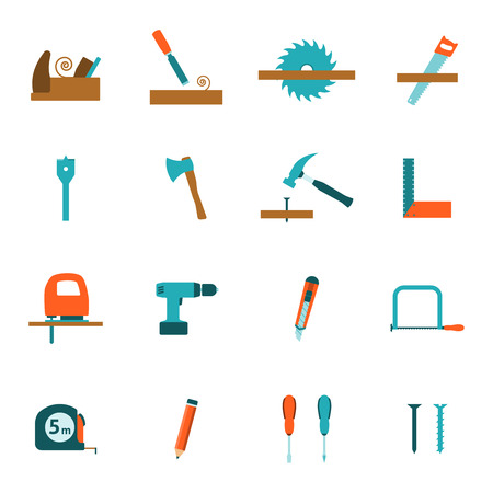 timber cutting: Carpentry tools for house building and renovation flat icons set with electric drill  abstract vector isolated illustration