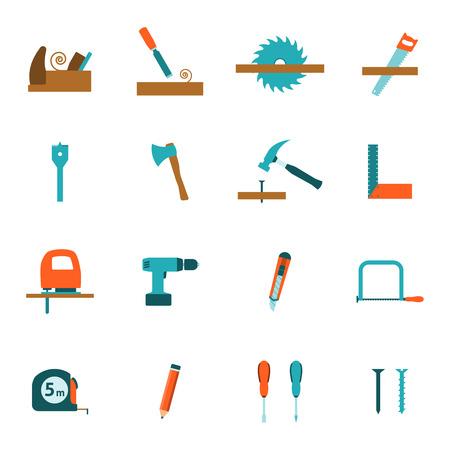 taladro electrico: Herramientas de carpinter�a para la construcci�n de viviendas y renovaci�n iconos planos establecidos con el taladro el�ctrico abstracto vector ilustraci�n aislada Vectores