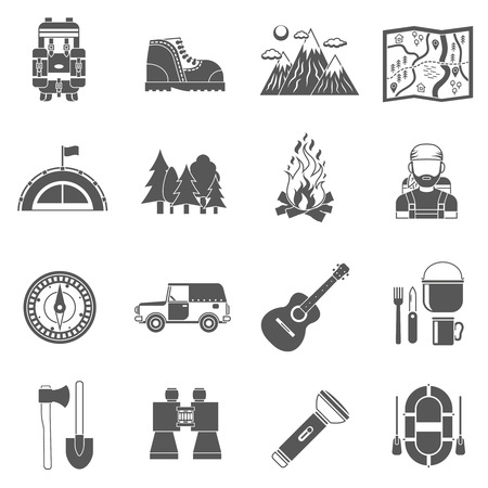 at leisure: Tourism icons black set with active leisure equipment isolated vector illustration