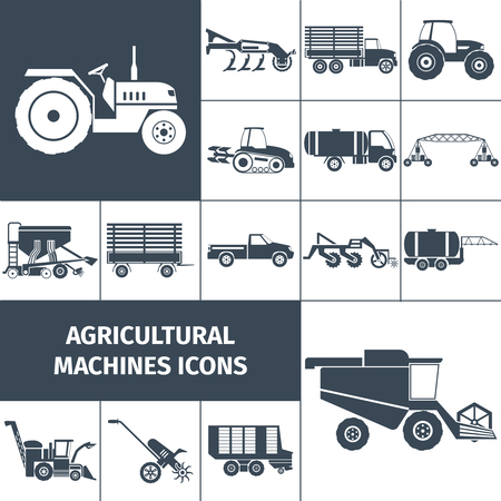 irrigation: Agricultural machinery black white square icons set with farming equipment and transport flat isolated vector illustration