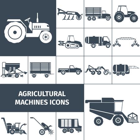 pulverizador: Maquinaria agrícola negro iconos blancos cuadrados establecen con maquinaria Agrícola y transportan plana aislado ilustración vectorial