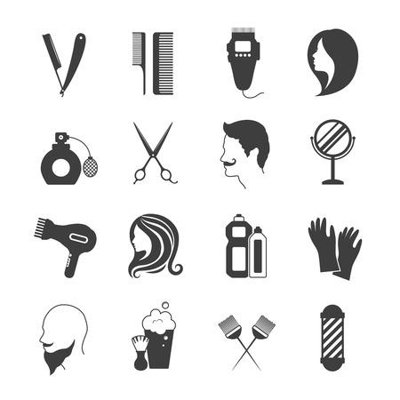 secador de pelo: Blanco y negro iconos de peluquería y salón de belleza conjunto aislado ilustración vectorial