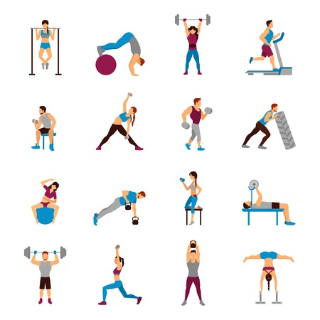 Strength training workout set with flat male and female sporty figures isolated vector illustration