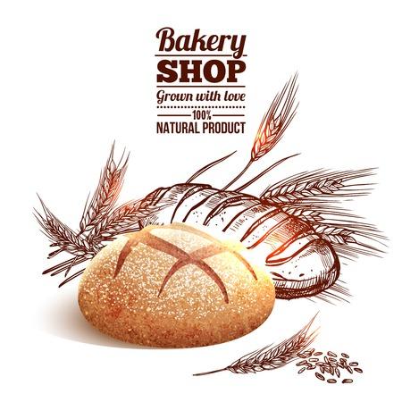 canasta de pan: Concepto de panader�a con pan y trigo boceto dibujado a mano en el fondo ilustraci�n vectorial