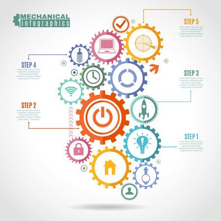 Color mechanism infographic with integrated gears and icons for digital internet connect social and global vector illustration