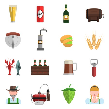 Beer festival Oktoberfest symbols icons flat set isolated vector illustration Illustration
