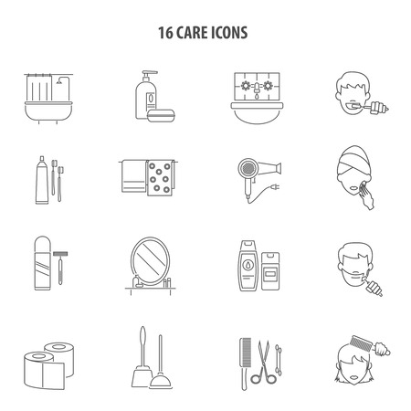 personal accessories: Personal care hygiene products for men and women bathroom accessories line icons set abstract vector isolated illustration
