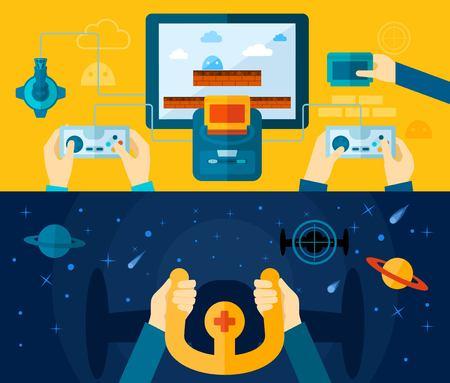 jeu: Jeu vidéo bandeau horizontal jeu avec les mains tenant périphériques de console isolés illustration vectorielle