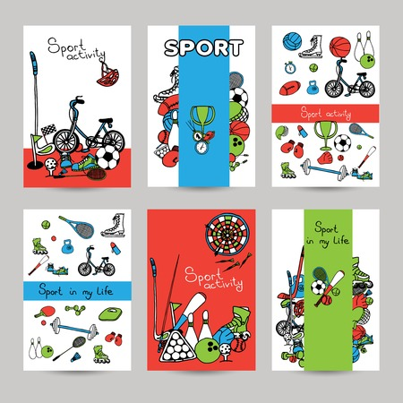 game equipment: Sport vertical paper banner set with sketch game equipment isolated vector illustration Illustration
