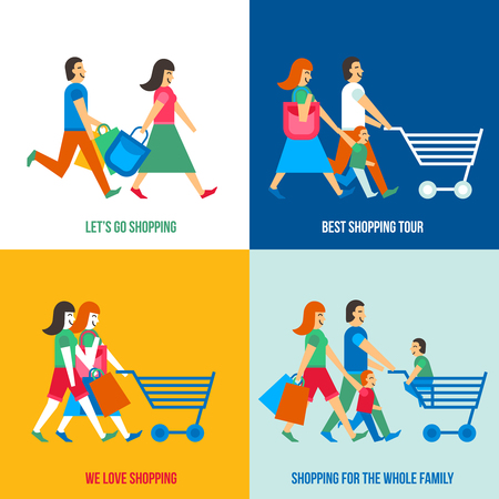 kid shopping: Shopping people design concept set with family in the mall flat isolated vector illustration Illustration
