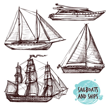 illustration journey: Hand drawn retro sail ships and speed boat set isolated vector illustration